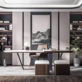 现代轻奢书房3D模型【ID:553739435】