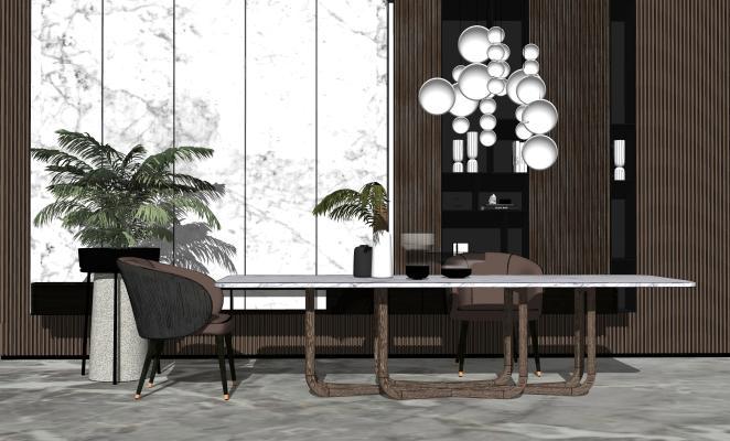 现代简约餐桌椅组合SU模型【ID:652943657】