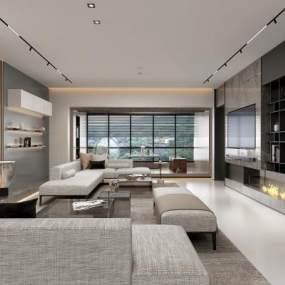 现代台式风客厅餐厅3D模型【ID:533748031】