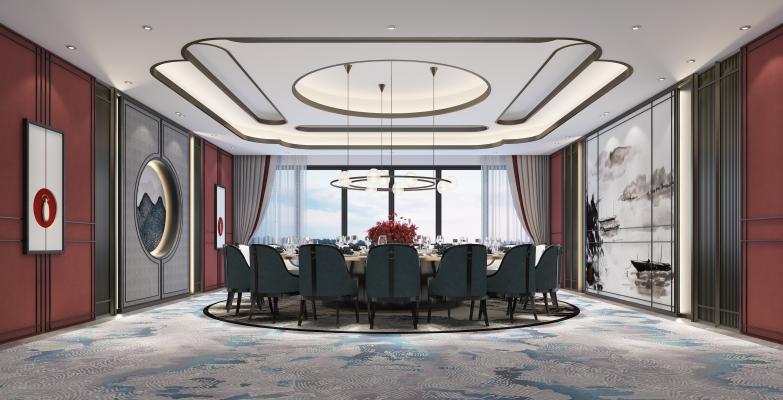 新中式輕奢餐廳包廂3D模型【ID:648603820】