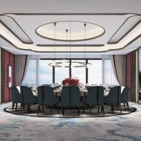 新中式轻奢餐厅包厢3D模型【ID:648603820】