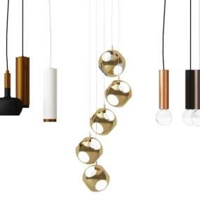 現代金屬吊燈組合3D模型【ID:742508874】