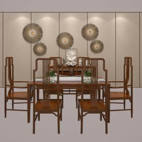 新中式餐桌椅組合3D模型【ID:734766159】