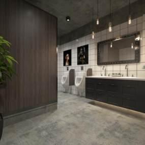 现代办公室卫生间 3D模型【ID:942308079】