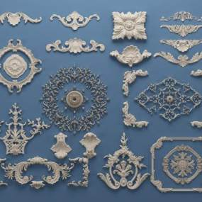 欧式罗马柱雕花石膏线3D模型【ID:331801449】