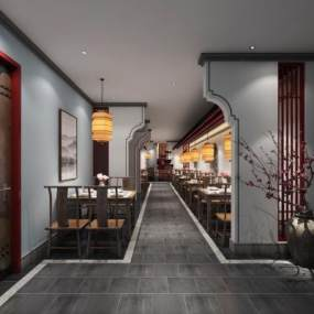 中式餐厅走廊3D模型【ID:654053295】