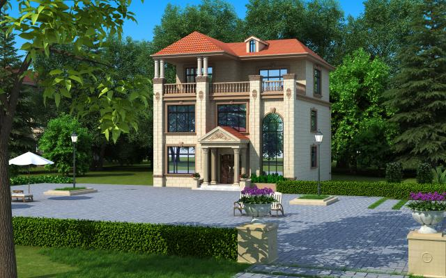 欧式简约别墅3D模型【ID:134539334】