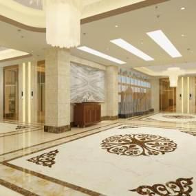 歐式酒店大廳3D模型【ID:747353070】