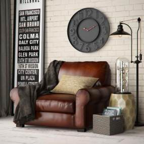 美式沙发3D模型【ID:631304461】