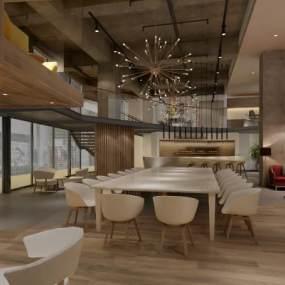 工业风咖啡厅3D模型【ID:643547381】