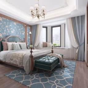 美式臥室吊燈手繪壁紙地毯壁燈窗簾3D模型【ID:543968239】