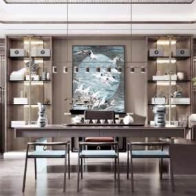 新中式風格茶室3D模型【ID:645723163】