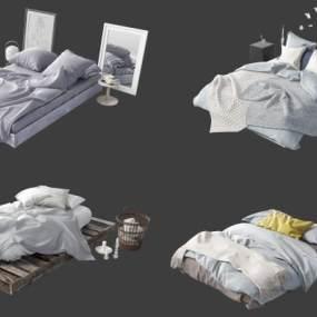 現代床具組合3D模型【ID:851221770】