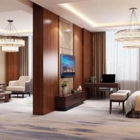 现代酒店套房3D模型【ID:744588394】