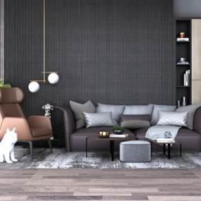 现代沙发茶几组合3D模型【ID:631487702】