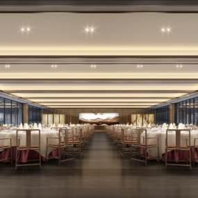 新中式风格宴会厅3D模型【ID:743569263】