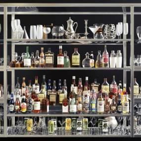 现代酒吧台酒瓶酒架组合 3D模型【ID:642173290】