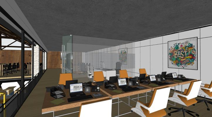 現代辦公室SU模型【ID:345490272】