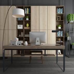 现代简约书桌椅书柜组合 3D模型【ID:940973071】