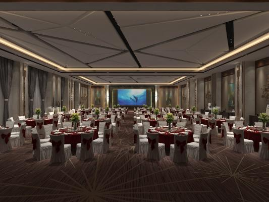 现代宴会厅3D模型【ID:743475269】