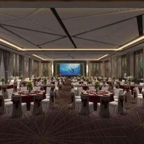 現代宴會廳3D模型【ID:743475269】