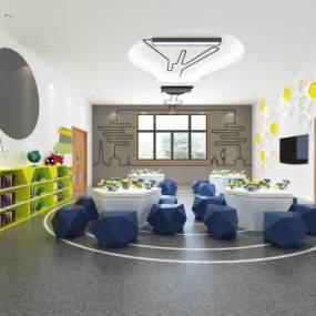 现代幼儿园教室活动室3D模型【ID:935940673】
