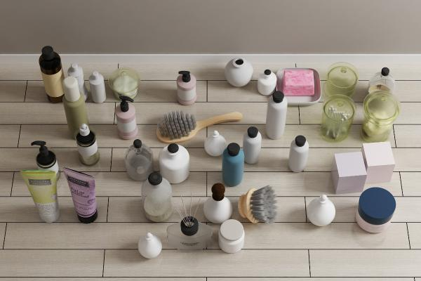 現代化妝品毛巾衛浴架3D模型【ID:340819622】