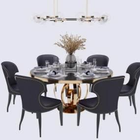 新中式圓形餐桌椅吊燈組合3D模型【ID:846674833】