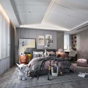 現代兒童房臥室3D模型【ID:543777246】