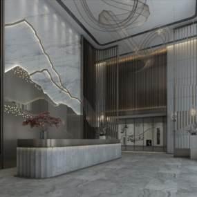 新中式大廳3D模型【ID:746346023】