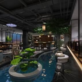 中式茶馆茶室3D模型【ID:643082639】
