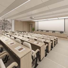 新中式图书馆报告厅3D模型【ID:946535142】