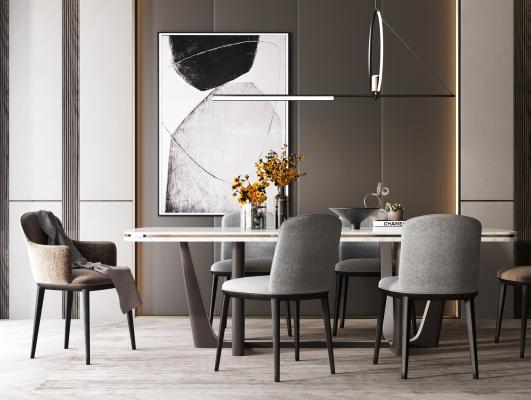 現代餐桌餐椅組合3D模型【ID:740920168】