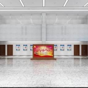 現代公安分局一層辦事大廳3D模型【ID:952230284】