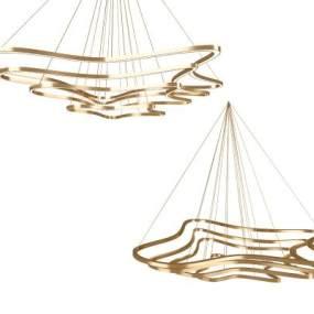 现代线条吊灯组合 3D模型【ID:741362864】