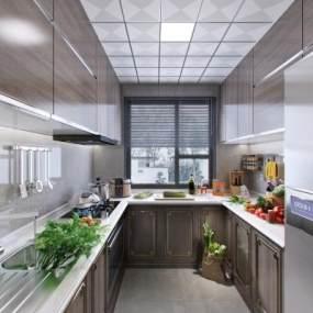 新中式風格廚房3D模型【ID:543839315】