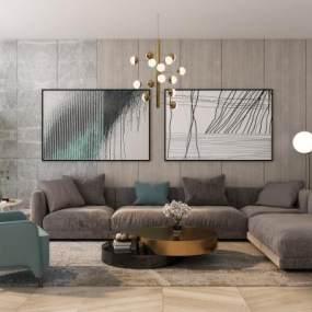 现代沙发茶几组合3D模型【ID:643425766】