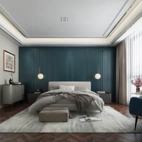 现代卧室3D模型【ID:546548265】
