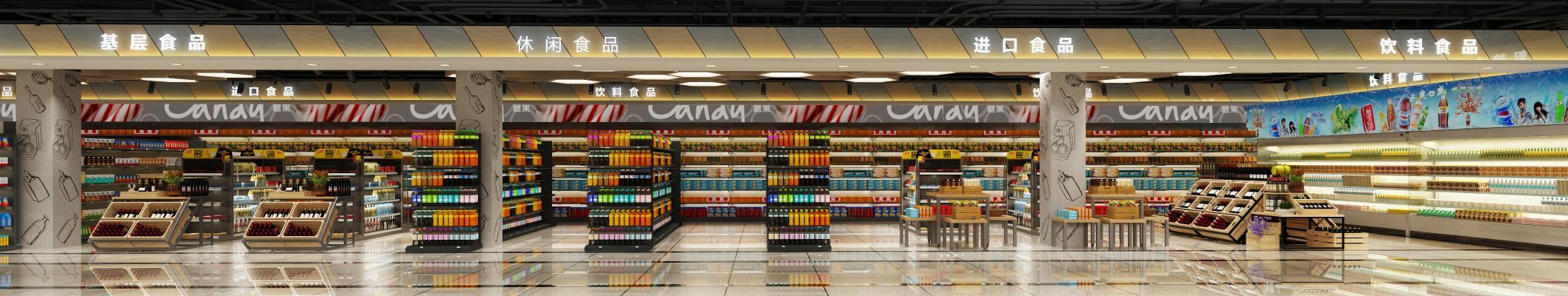现代超市3D模型【ID:130629113】