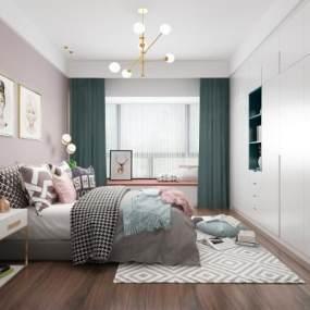 現代臥室3D模型【ID:549241286】