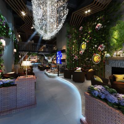现代小清新酒吧3D模型【ID:832681090】