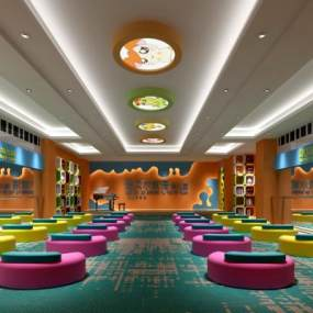 现代幼儿园舞蹈室音乐室多功能厅3D模型【ID:930595659】