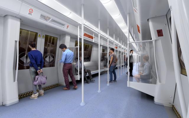 现代地铁轻轨车厢人物3D模型【ID:346110668】