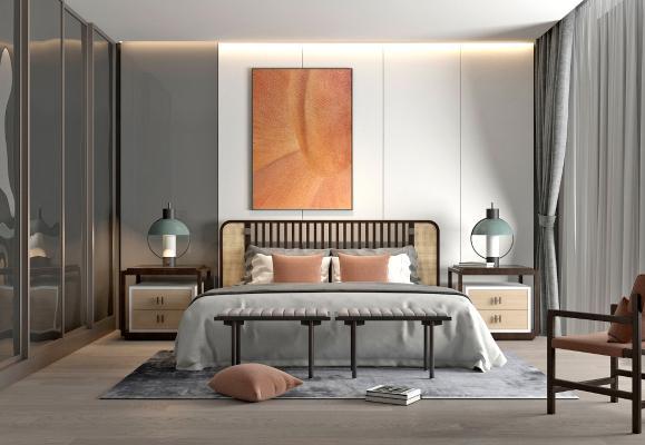 新中式卧室3D模型【ID:553886292】