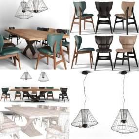 現代餐桌椅3D模型【ID:844088870】