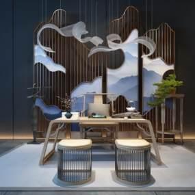 新中式书房茶台3D模型【ID:730459788】