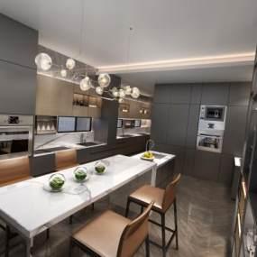 现代风格厨房3D模型【ID:543460387】