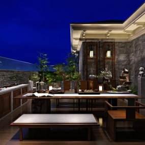 中式花园阳台3D模型【ID:533172606】