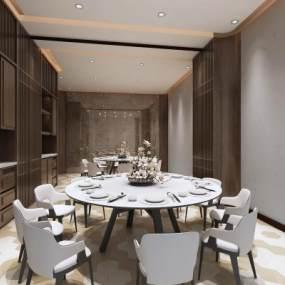 新中式風格餐廳3D模型【ID:552359101】