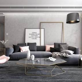现代客厅沙发茶几组合3D模型【ID:530431009】